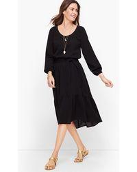 Talbots Gauze Flounce Hem Midi Dress - Black