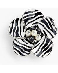 Talbots Zebra-stripe Flower Brooch - Black