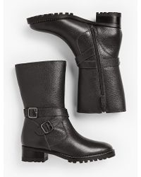 Talbots Tish Mid-calf Leather Boots - Black