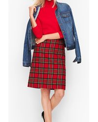 Talbots Plaid Sparkle A-line Skirt - Red