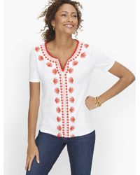 Talbots Embroidered Palm Frond T-shirt - White