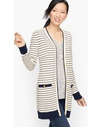 Talbots Supersoft Tipped Cardigan Sweater - White
