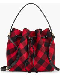 Talbots Buffalo Plaid Drawstring Bucket Bag - Black