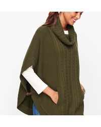 Talbots Cable Cowlneck Poncho - Green