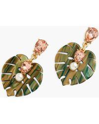 Talbots Palms & Pearl Earrings - Multicolour