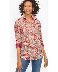 Talbots Grazing Tiger Cotton Button Front Shirt - Red