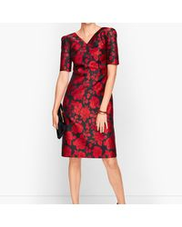 Talbots Back Bow Floral Jacquard A-line Dress - Red