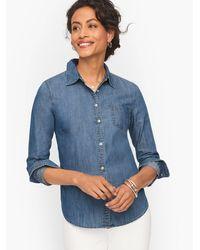 Talbots Striated Denim Button Front Shirt - Blue