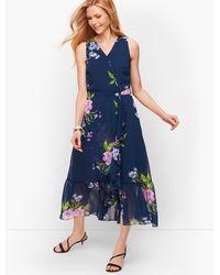Talbots Georgette Painterly Floral Wrap Dress - Blue