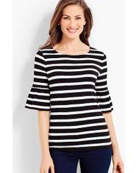 Talbots - Striped Flounce-sleeve Jersey Tee - Lyst