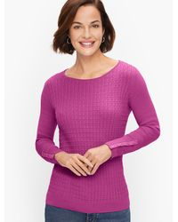 Talbots Cableknit Button Cuff Jumper - Purple