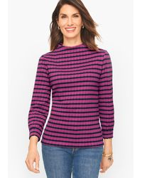 Talbots Stripe Jacquard Funnel Neck Pullover Sweater - Purple