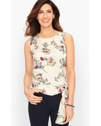 Talbots Crepe Side Tie Top - White
