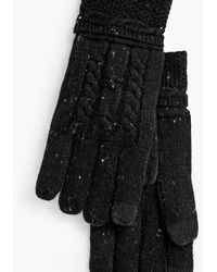 Talbots Cable Stitch Tweed Touch Gloves - Black