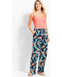Talbots - Crinkle-cotton Pineapple Party Beach Pant - Lyst