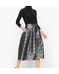 Talbots Brocade Flare Skirt - Black