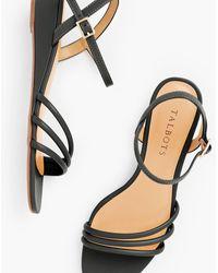 Talbots Cora Multi Strap Mini Wedge Sandals - Black