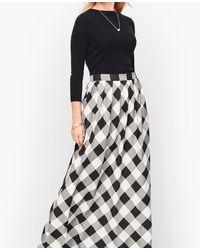 Talbots Buffalo Check Pleated Maxi Skirt - Black