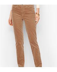 Talbots Stretch Corduroy Straight Leg Trousers - Brown