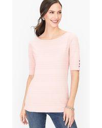 Talbots Textured Cotton T-shirt - Pink