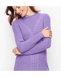 Talbots Cableknit Shaker Stitch Jumper - Purple