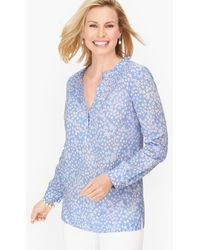 Talbots Lovely Floral Pintuck Popover Shirt - Blue
