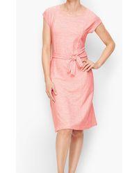Talbots Mixed Stripe Tie Belt Dress - Pink