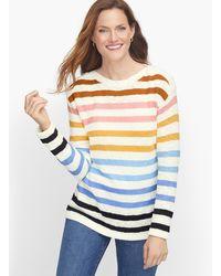 Talbots Slub Cotton Stripe Jumper - White