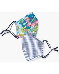 Talbots Two Pack Layered Floral Masks - Blue