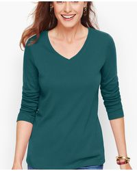 Talbots Ribbed Pima V-neck Tee - Green