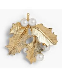 Talbots - Holiday Brooch Collection - Pearl And Holly - Lyst