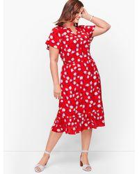 Talbots Plus Size Exclusive Flounce Hem A-line Dress - Red