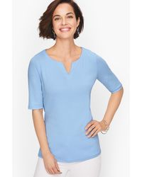 Talbots Split Neck Cotton T-shirt - Blue