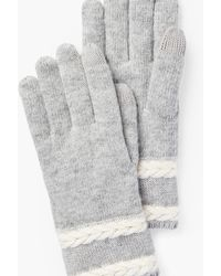 Talbots Cable Stripe Gloves - Gray