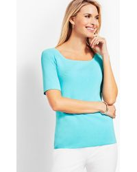 Talbots - Square-neck Elbow-sleeve Jumper Topper - Lyst