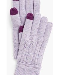 Talbots Cable Stitch Tweed Touch Gloves - Purple