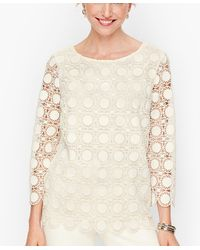 Talbots Medallion Lace Top - White