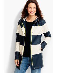 Talbots Stripe Hooded Raincoat - Multicolor