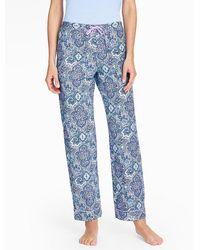 Talbots Bright Print Pyjama Bottoms-medallion Paisley - Blue