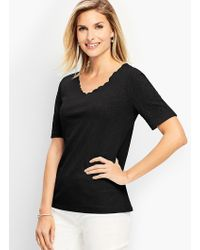 Talbots - Scalloped V-neck Embroidered-sleeve Tee - Lyst