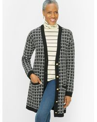 Talbots Texture Plaid Merino Wool Cardigan Jumper - Black