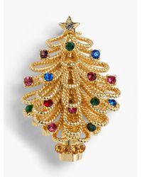 Talbots Holiday Tree Brooch - Metallic