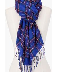 Talbots Cheery Plaid Oblong Scarf - Blue