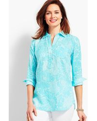 Talbots - Dotted Flowers Linen Camp Shirt - Lyst