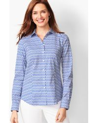 0d019ba416f12 LOFT Petite Chambray Flounce Cold Shoulder Shirt in Blue - Lyst
