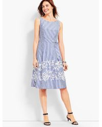 4954ba86b0e Talbots Geo Mixed-print Fit-and-flare Dress in Blue - Lyst