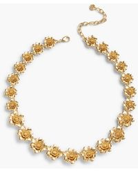 Talbots Short Flower-bud Necklace - Metallic