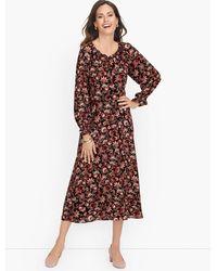 Talbots Bracelet Sleeve Autumn Garden Midi Dress - Multicolour
