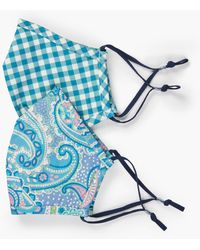 Talbots Two Pack Speckled Paisley Masks - Blue