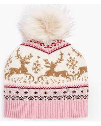 Talbots Reindeer Fair Isle Pompom Hat - Pink